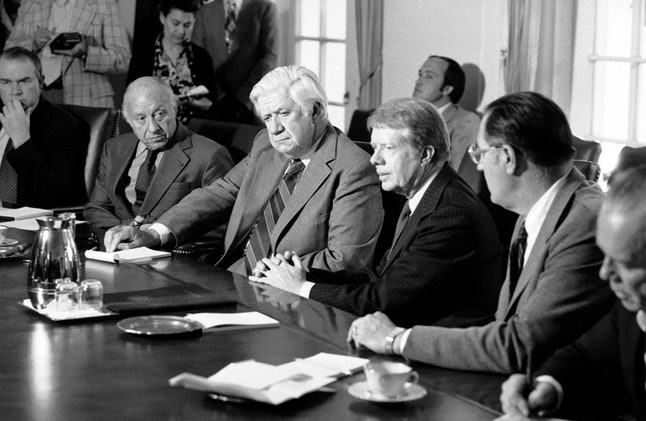 President Jimmy Carter meets with members of Congress in October 1978.