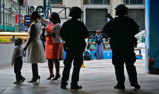 Armed security outside Madison Square Garden