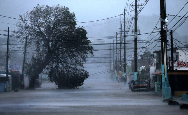 A street is flooded during Hurricane Irma on September 6 in Fajardo, Puerto Rico.