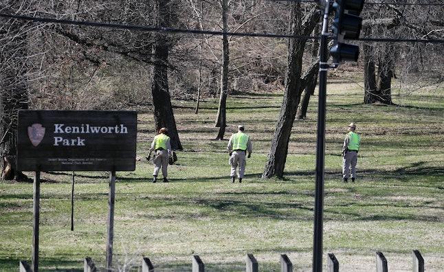 Washington Metro Police cadets search DC's Kenilworth Park for Relisha Rudd in 2014.