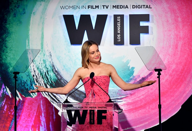 Brie Larson onstage during the Women In Film 2018 Crystal and Lucy Awards on June 13, in Beverly Hills, California