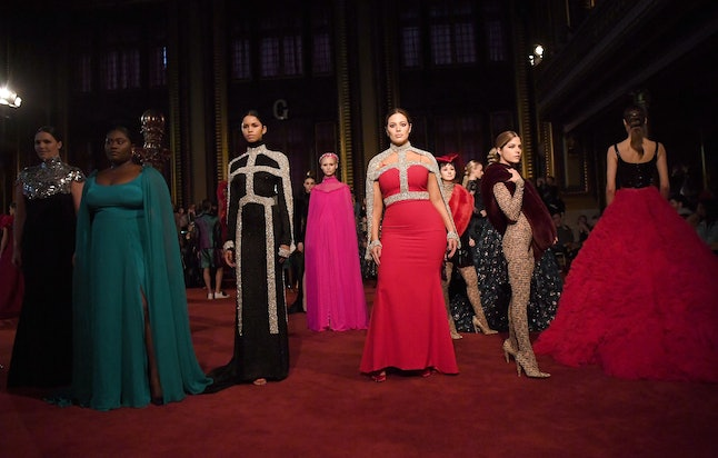 Models at the Christian Siriano fall/winter show during NYFW