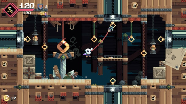 A typical screen in 'Flinthook.'