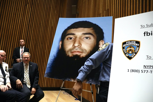 A picture of suspect Sayfullo Saipov is displayed during a Wednesday news conference about the alleged terror attack along a bike path in lower Manhattan.