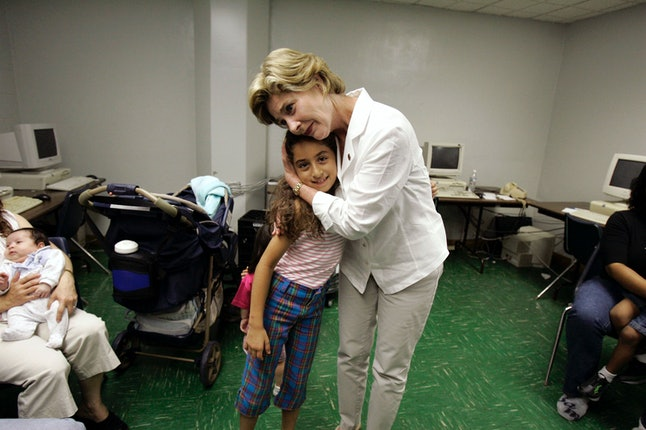 Laura Bush visiting people affected by Hurricane Katrina in 2005