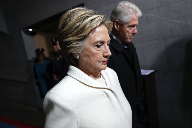 Hillary and Bill Clinton attend the inauguration of Donald Trump.
