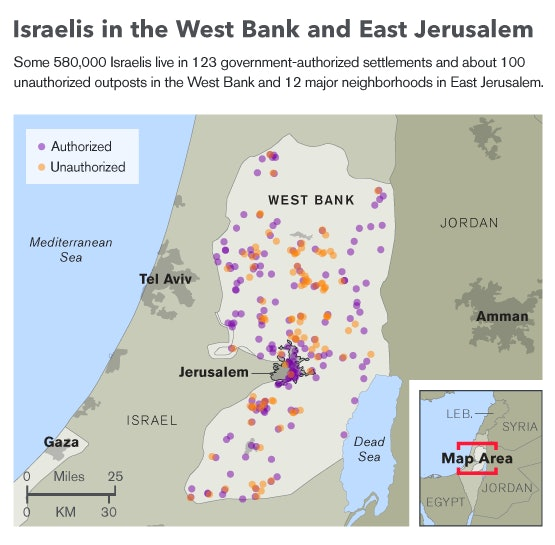 A map of Israeli settlements in the West Bank and East Jerusalem.