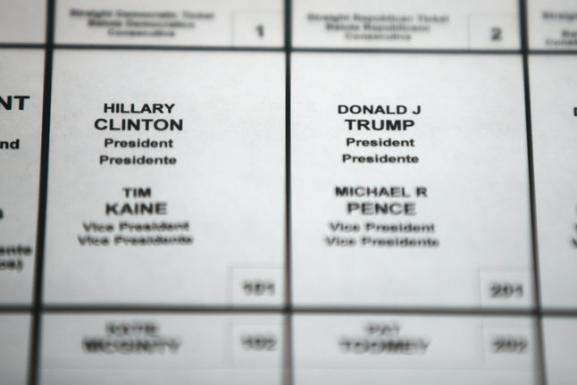 An election ballot shows the names of Hillary Clinton, Donald Trump and their running mates.