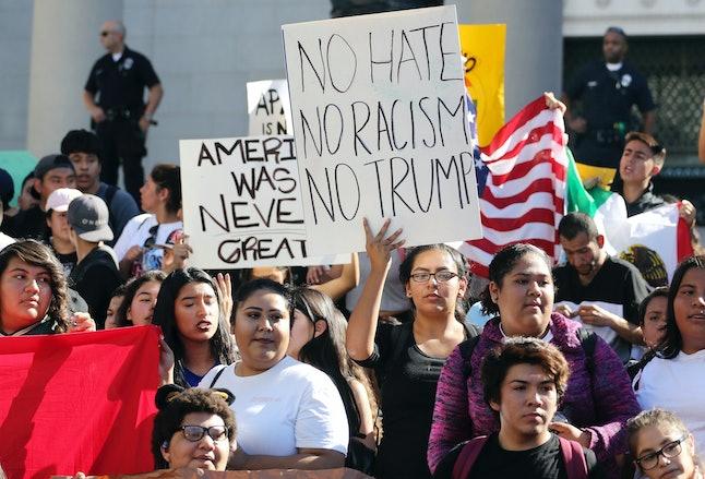 Students protest Trump in Los Angeles in Nov. 2016.
