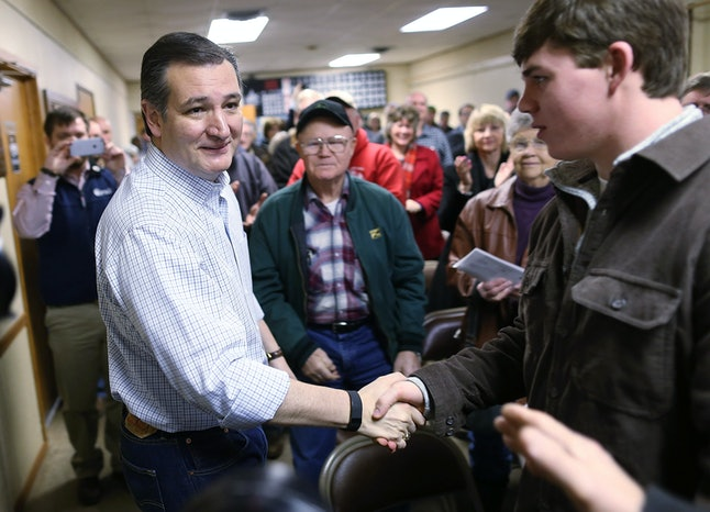 Texas Sen. Ted Cruz shaking hands at an Iowa campaign stop in January.
