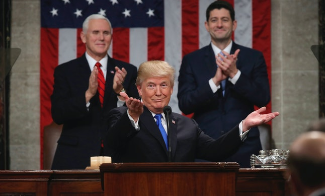 President Donald Trump gestures as delivers his first State of the Union address, on Tuesday.