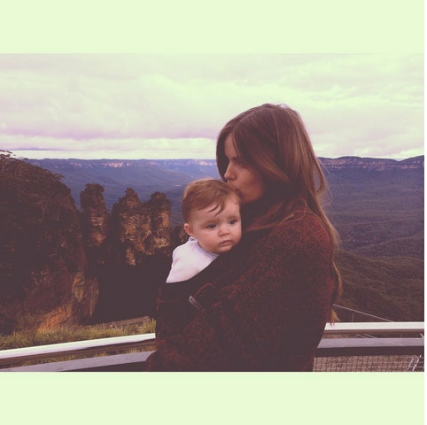 Robyn Lawley with her baby