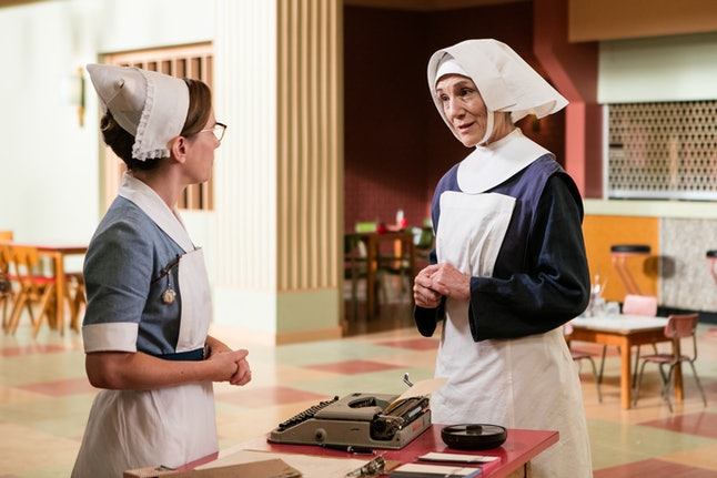 Laura Main (left) as Shelagh Turner and Harriet Walter (right) as Sister Ursula