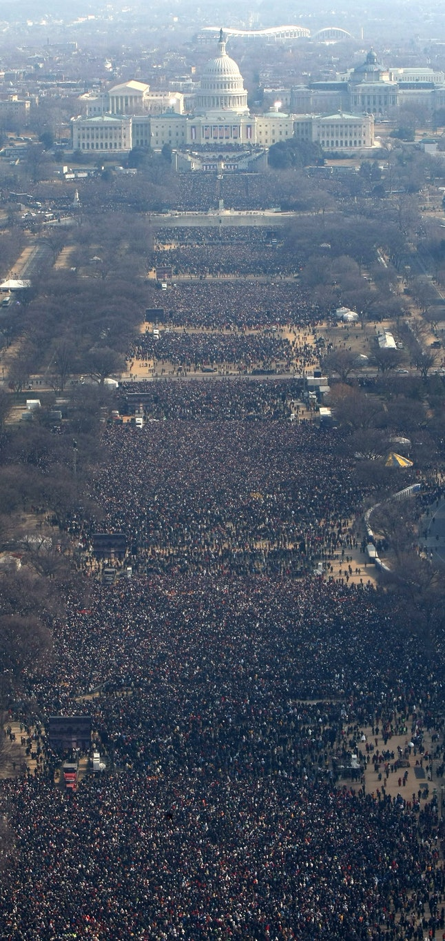 The National Mall in Washington, D.C., on the day of Barack Obama's swearing-in ceremony