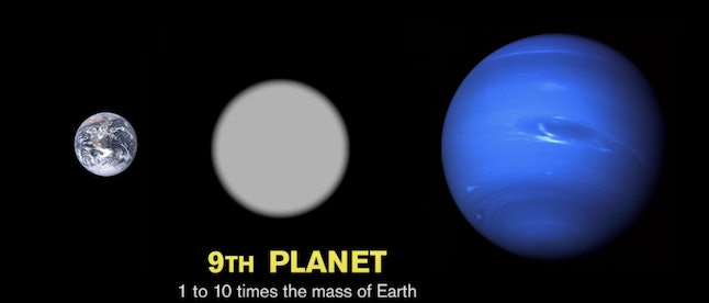 The hypothetical planet nine is shown between Earth and Neptune.