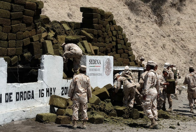 Forty tons of cannabis was seized from Mexican cartels by authorities and burned in 2014.