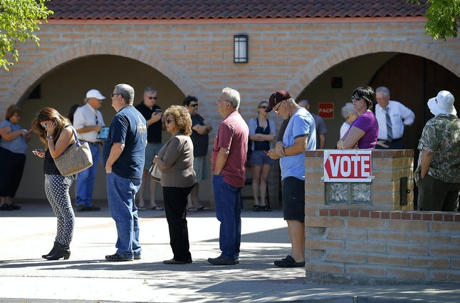 Super long lines at Arizona polling places point to suspicious activity in Democratic primary.