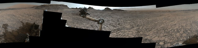 A closer look at the Mastcam arm, on which the camera's mounted