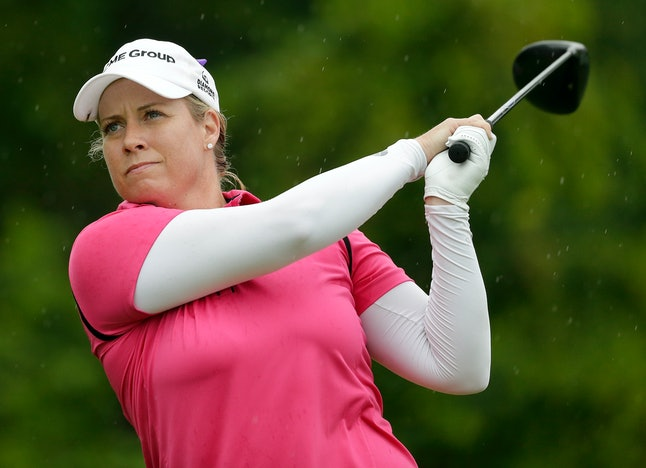 Brittany Lincicome tees off the 15th hole during the second round of the U.S. Women's Open at Trump National in Bedminster, New Jersey.