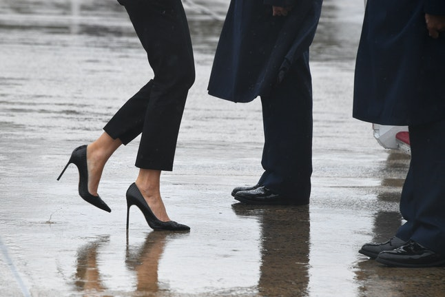 The shoes pictured above are the ones first lady Melania Trump wore when she traveled with the president to Texas to survey damage from Hurricane Harvey. The stilettos, not typical footwear for touring floodwaters, set Twitter aflame.