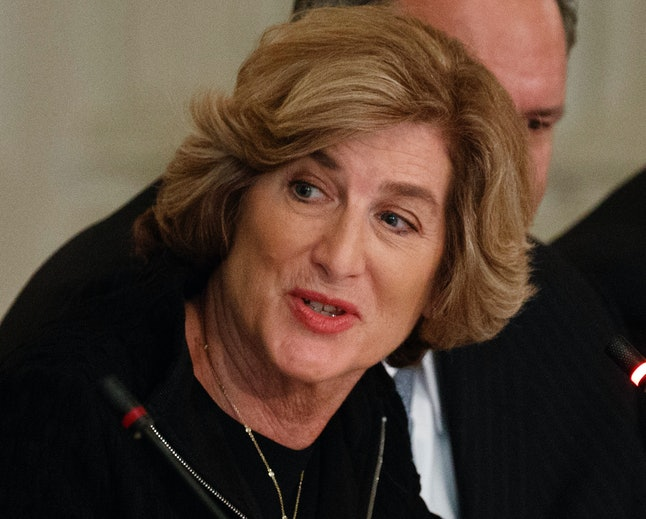 Campbell Soup CEO Denise Morrison speaks during a meeting between President Donald Trump and manufacturing executives at the White House in Washington.