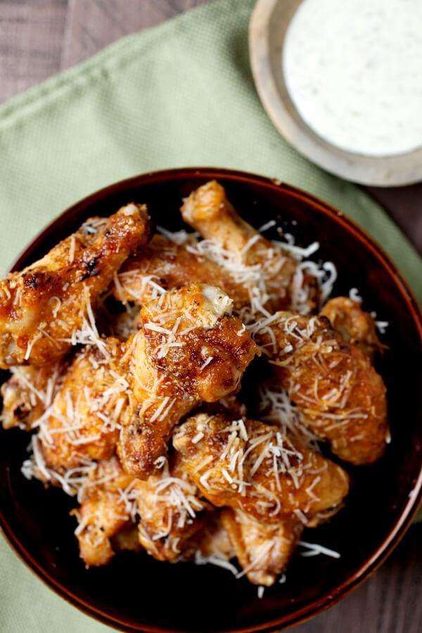 Garlic-Parmesan grilled chicken wings