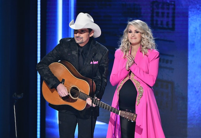 Hosts Brad Paisley, left, and Carrie Underwood appear at the 52nd annual CMA Awards on Wednesday, Nov. 14, in Nashville, Tennessee.