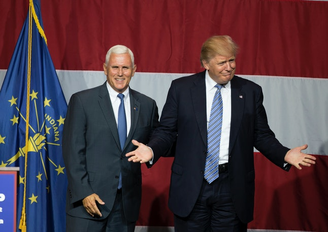 Presumptive Republican nominee Donald Trump with vice presidential pick Mike Pence