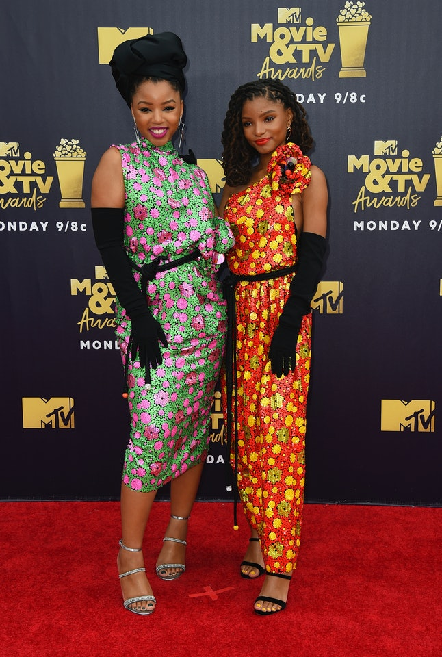 Chloe Bailey and Halle Bailey at the 2018 MTV Movie and TV Awards