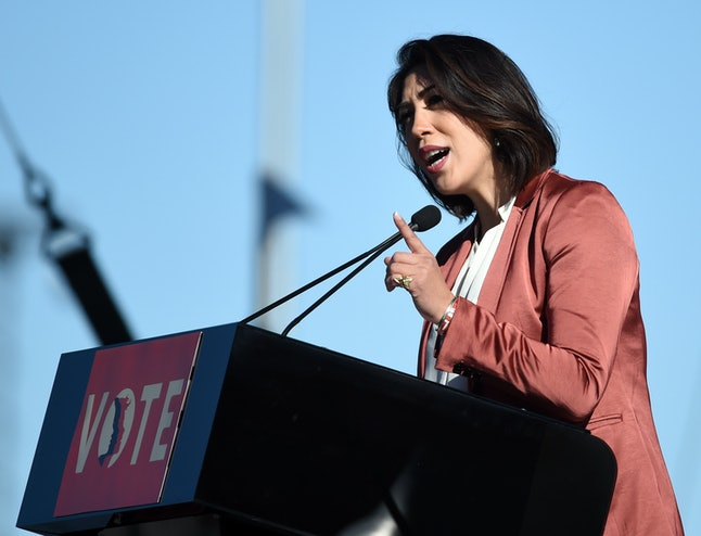 "Idaho state Rep. Paulette Jordan speaks during the Women's March ""Power to the Polls"" voter registration tour launch in Las Vegas."