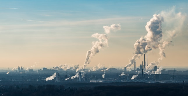 Steam and exhaust rise from the chemical and coking plants in in Oberhausen, Germany, in January.