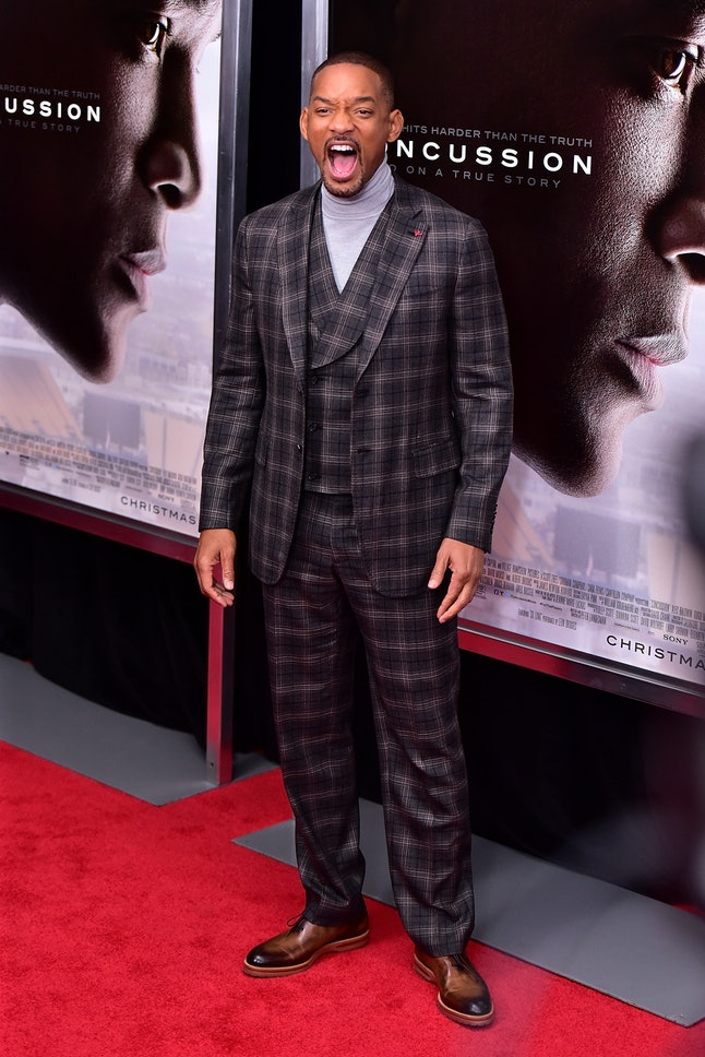 Will Smith at a red carpet event for the premiere of his new film, 'Concussion.'