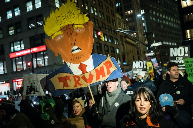 Protesters march against Donald Trump in February.