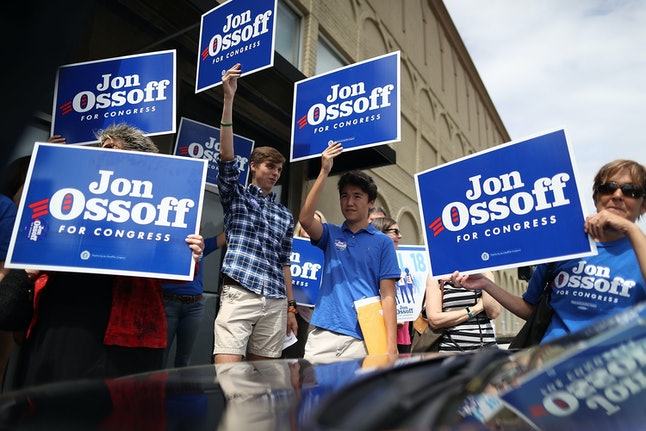 Supporters campaign for Jon Ossoff in Georgia's 6th District.