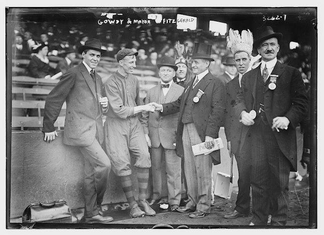 "Boston's Hank Gowdy and Boston mayor John ""Honey Fitz"" Fitzgerald"