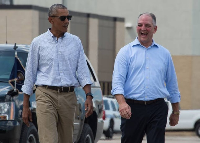 Then President Barack Obama with Louisiana Gov. John Bell Edwards, during a visit to Baton Rouge, Louisiana, in July 2016.