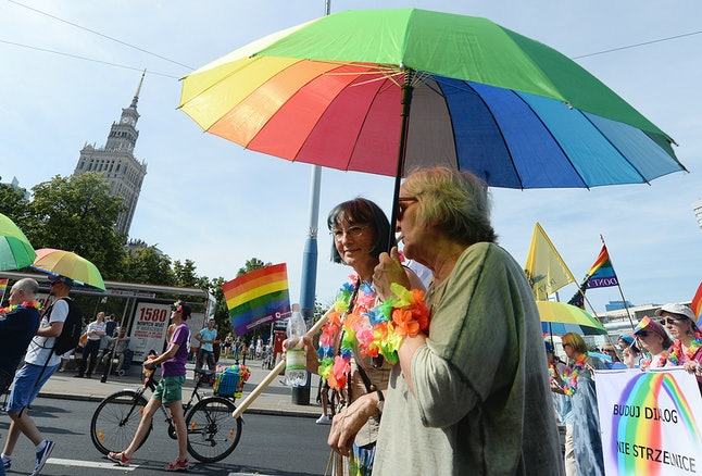 People at the Gay Pride parade in Warsaw, Poland