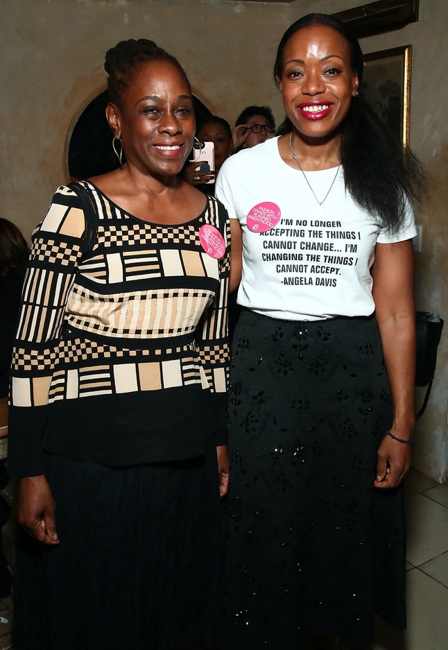 Tracy Reese (right) with the first lady of New York City Chirlane McCray (left) at NYFW in February
