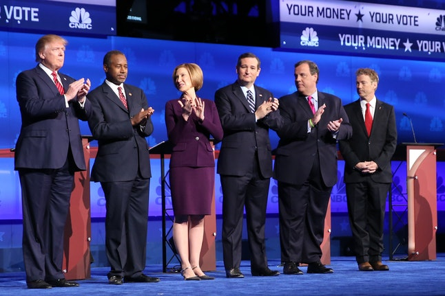 Six of the top-polling Republican presidential candidates during the CNBC GOP debate.