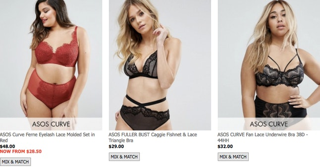 Asos bras in cup sizes DD and up on sale
