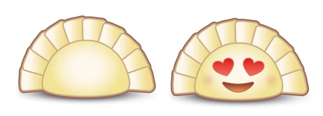 The proposed designs for the dumpling emojis