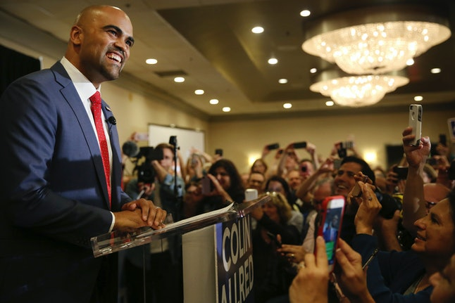 Newly elected U.S. Rep. Colin Allred (D-Texas) speaks to supporters during an election night party at the Magnolia Hotel Dallas Park Cities in Dallas on Nov. 6.