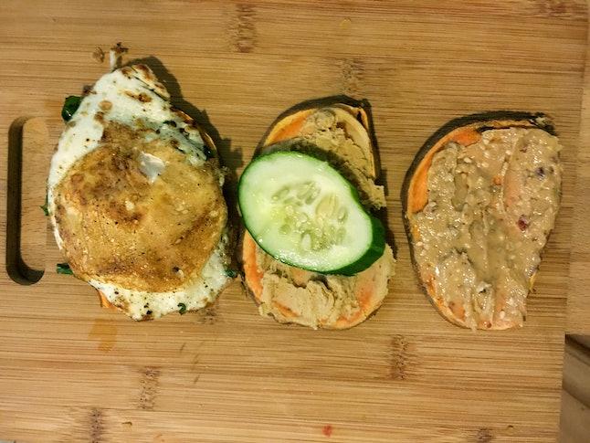 Sweet potato toast, three ways