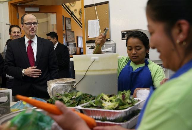 Then-Labor Secretary Tom Perez visits La Cocina in San Francisco.