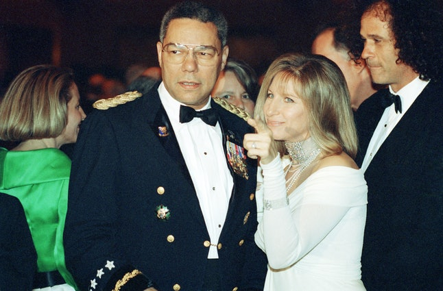 Colin Powell chats with Barbra Streisand at the 79th annual correspondents' dinner.