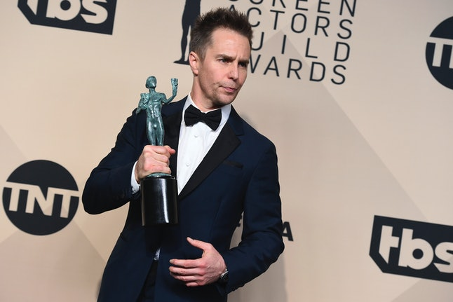 Sam Rockwell, winner of the award for outstanding performance by a male actor in a supporting role for 'Three Billboards Outside Ebbing, Missouri' at the Screen Actors Guild Awards on Sunday in Los Angeles.