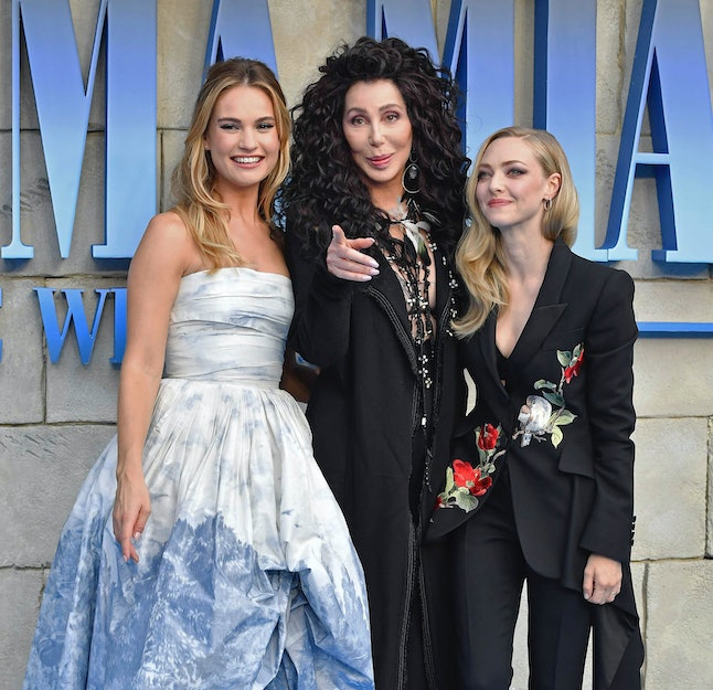 Lily James, Cher and Amanda Seyfried at the world premiere of 'Mamma Mia! Here We Go Again' held at the Eventim Hammersmith Apollo in London.