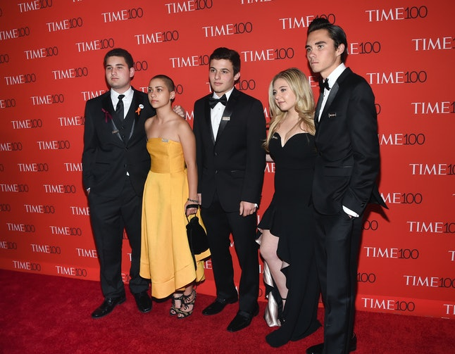Parkland student activists, from left, Alex Wind, Emma Gonzalez, Cameron Kasky, Jaclyn Corin and David Hogg attend the Time 100 Gala.