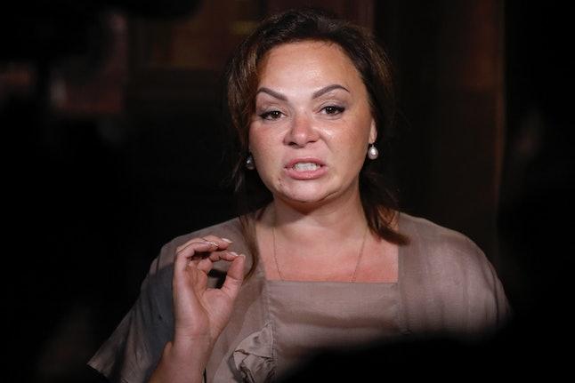 Natalia Veselnitskaya speaks to journalists in Moscow in July 2017.