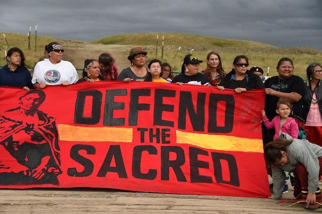 Protesters organized to protest the Dakota Access Pipeline